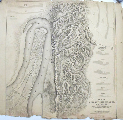 1863 US War Dept Civil War Map: Siege of Vicksburg