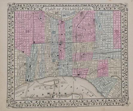 1870 Mitchell Map of Philadelphia