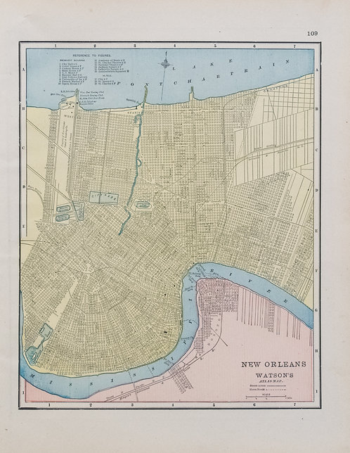 1891 Watson Cram Map of New Orleans, Verso Atlanta