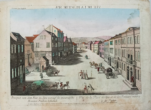 1780 Moreau View of Central Square in Spa Belgium