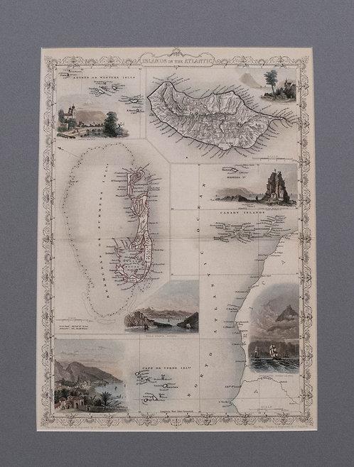 1851 Tallis Map of Islands in the Atlantic
