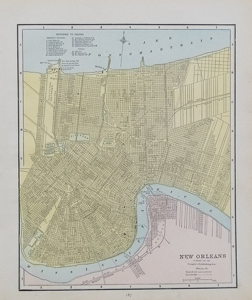 1891 Cram's Map of New Orleans verso Map of San Francisco