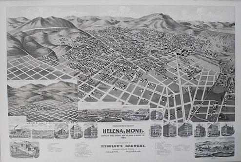 1890 Kessler Brewery/American Publishing Birds Eye View Map of Helena Montana