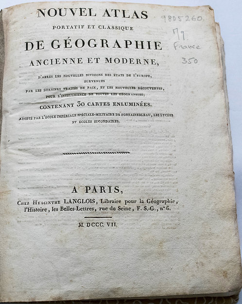 1807 Langlois World Atlas of Modern & Ancient Maps