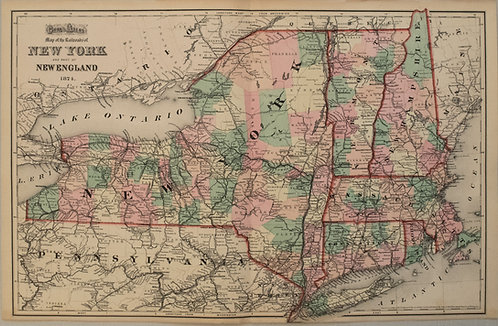 1874 Gray Map of New England