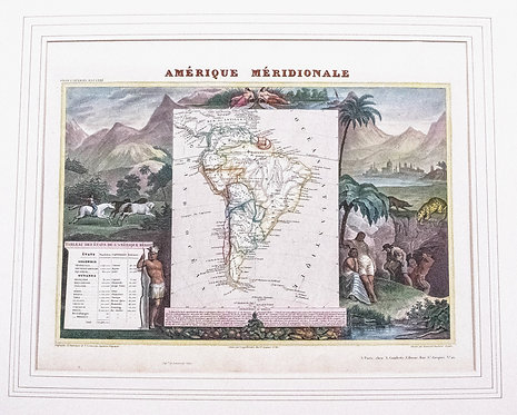 1840 Ornate Levasseur Map of South America