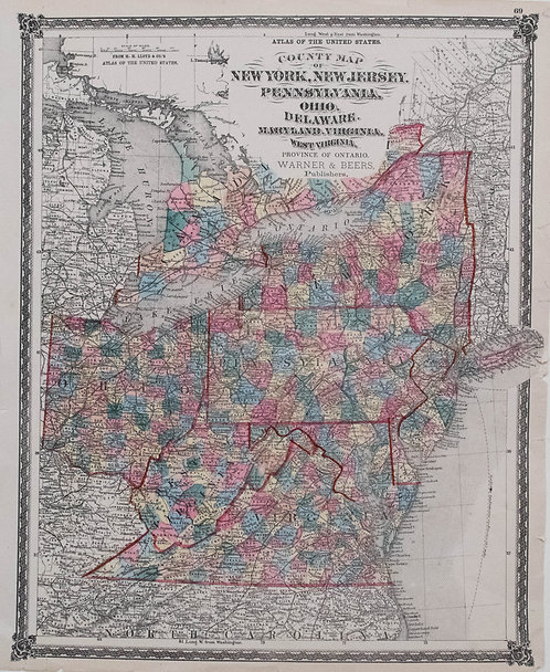 1873 Lloyd Atlas Map of NY,NJ,PA,OH,DE,MD,VA,WV,ON