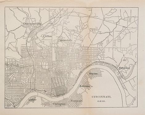 1887 Government Map of Cincinnati Railroads