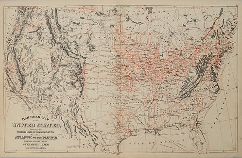 1887 Mitchell Railroad Map of the United States