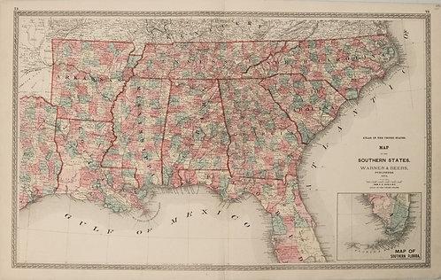 1872 Warner Beers Map of Southern US