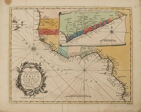 1750 Seale Map of Western Africa Coast During Slave Trade Period