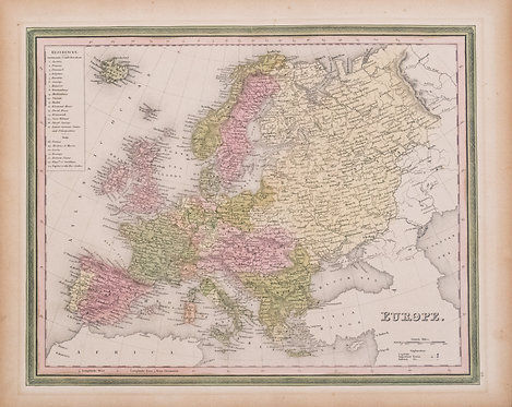 1836 Tanner Map of  Europe