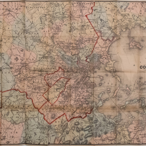 1886 Williams Pocket Map Of Greater Boston