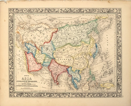1860 Mitchell Map of Asia