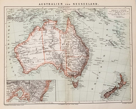1882 Brockhaus Map of Australia and New Zealand