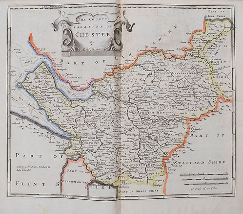 1722 Morden Map of Chesire UK
