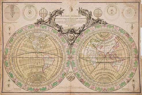 1760 de Vezou Double Hemisphere World Map