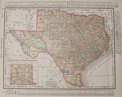 1895 Rand McNally Map of Texas and Indian Territory/Oklahoma