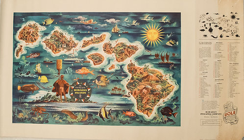 1950 Feher Pictorial Map of Hawaiian Islands for Dole Pineapples