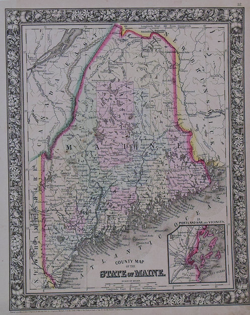 1860 Mitchell Map of Maine