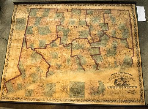 1859 Clark & Tackabury Large Connecticut Wall Map