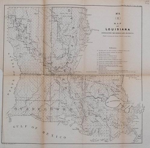 1860 Surveyor's Map of Louisiana