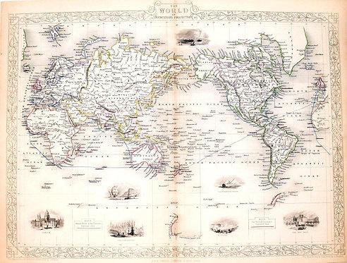 1851 Tallis Decorative World Map