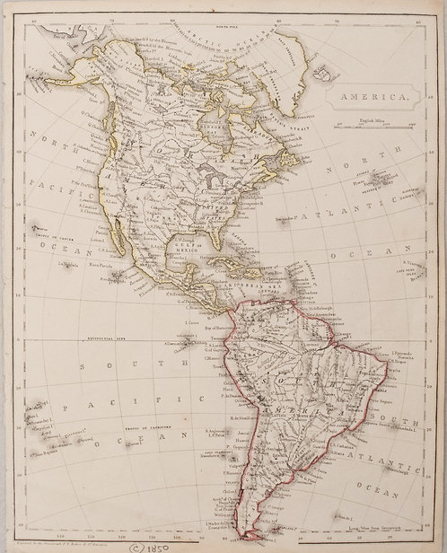 1850 c. Becker map of North and South America