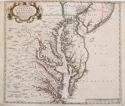 1719 Senex Map of Virginia and Maryland