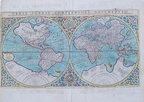 1610 c. Mercator Double Hemisphere World Map