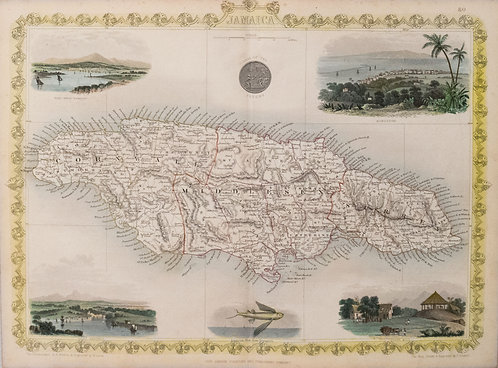 1855 Tallis Map of Jamaica