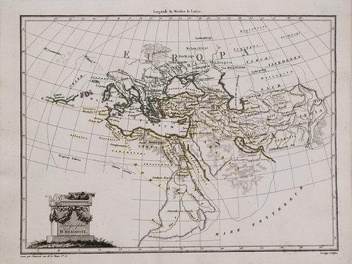 1812 Malte-Brun Map of the Known World per Herodotus