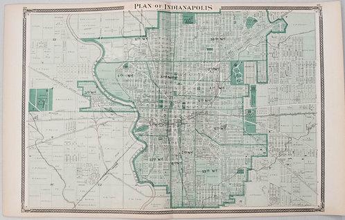 1876 Durant Map of Indianapolis [verso] Marion Co.