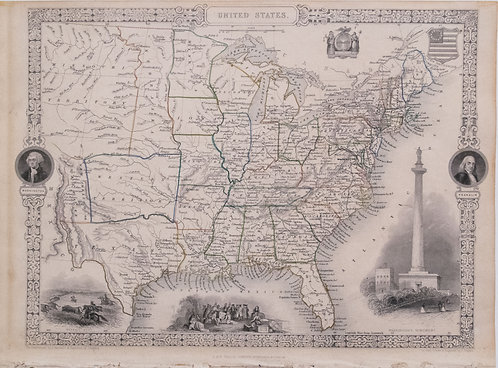 1852 Tallis Map of the United States