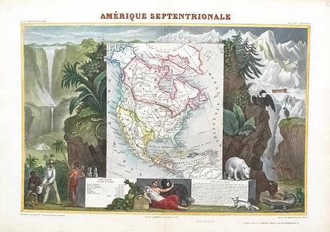 1840 Ornate Levasseur Map of North America