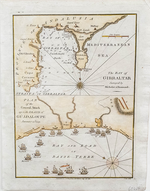 1781 Cary Double Map of Gibratar and Guadaloupe