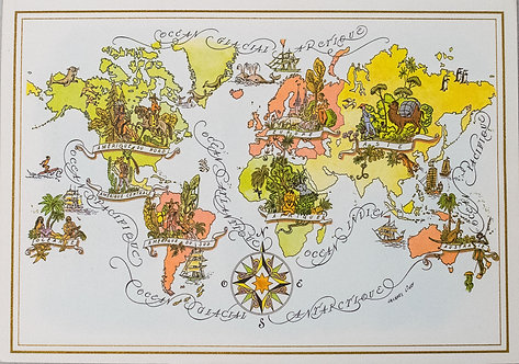 1967 PanAm Pictorial Map of the World