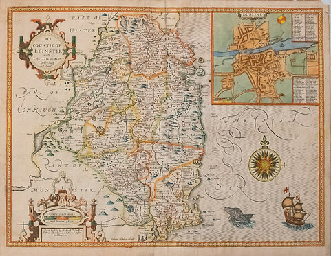 1610 Speed Map of Leinster County and Dublin, Ireland