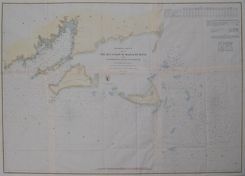 1856 US Coastal Survey of Martha's Vineyard amd Nantucket Area in Massachusetts