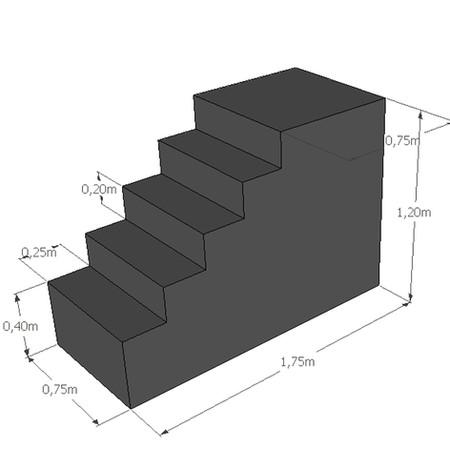 Rechte trap met insprong hoogte 120 cm