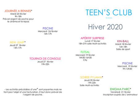 programme des vacances TEEN'S CLUB