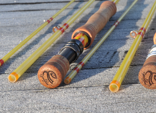 A beautiful pair ofCTS 9' 8wt Quartz Glass fly rods