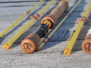 A beautiful pair of CTS 9' 8wt Quartz Glass fly rods