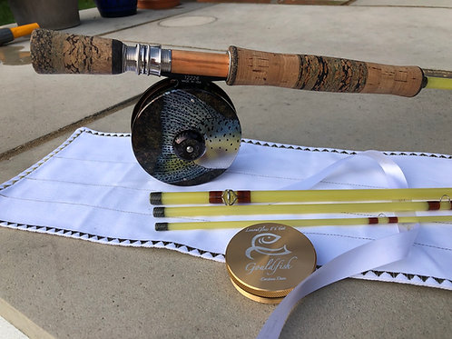 8'6 6wt 4pc Gouldfish LemonGlass S2 Fast Glass Custom Fly Rod