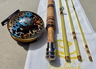 An 8' 5wt Gouldfish LemonGlass to match an Abel Native Brown Vaya Reel for Jamie in New Hampshir