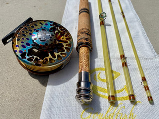 An 8' 5wt Gouldfish LemonGlass to match an Abel Native Brown Vaya Reel for Jamie in New Hampshir
