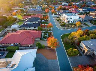 Aerial view of a typical suburb in Austr