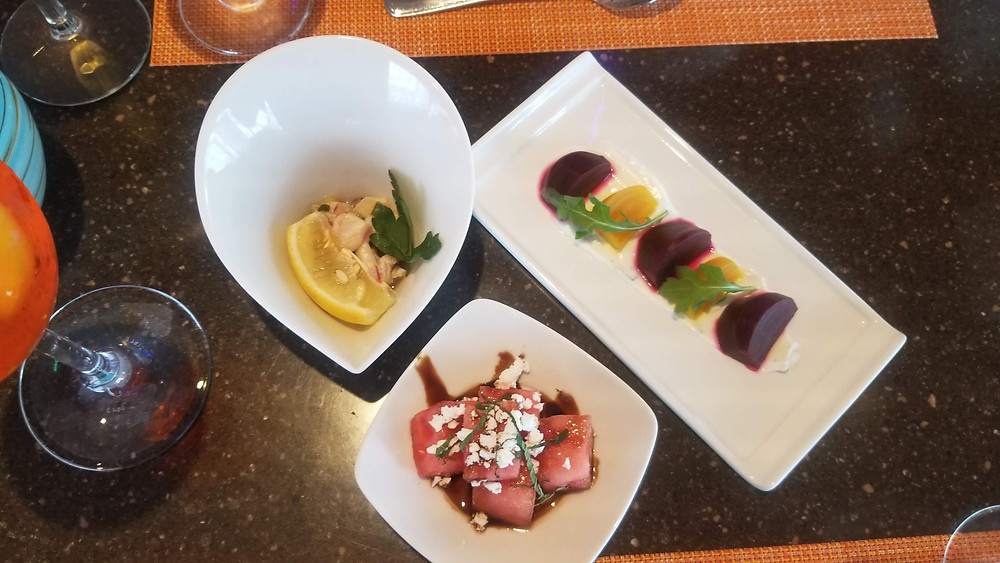 Solarium Bistro Ceviche,Beet Salad, and watermelon feta salad