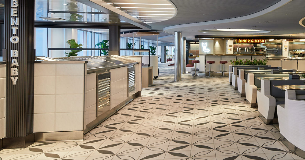 Virgin Voyages food court concept the galley onboard Scarlet Lady. No buffets for Virgin Voyages