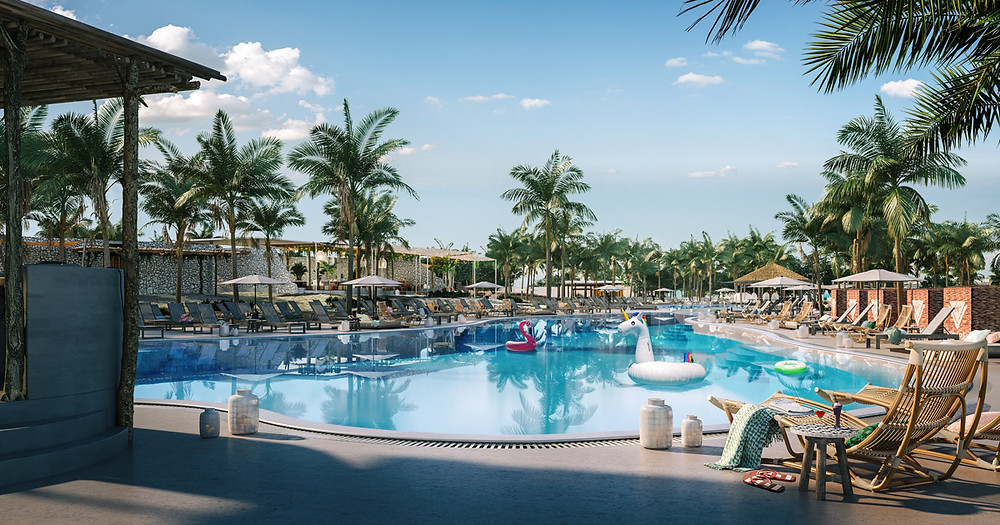 Bimini Beach club by Virgin Voyages. All Scarlet Lady Voyages will stop here.